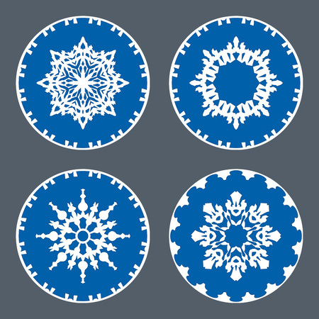Christmas snowflake icon set. Ornamental view snow signs. Winter, New Year, holiday symbol. White blue silhouette on gray background. Vector isolated Illustration
