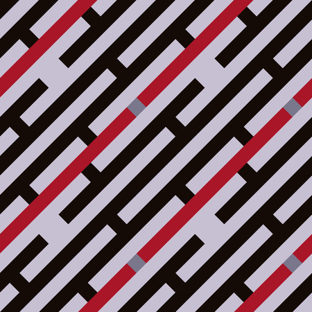 striated: Seamless geometric stripy pattern. Texture of diagonal strips, lines and rectangles. Red, gray, black colored background. Labyrinth theme. Vector