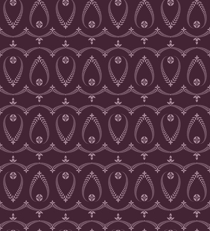 Seamless laurel wreath pattern. Stylized ornament with cross. Lace view texture. Ceremonial, religious background. Purple colored. Vector