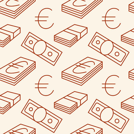 Currency seamless pattern. Euro signs. Texture with EUR money sign symbols. Dark objects on light background. Brown colors. Vector