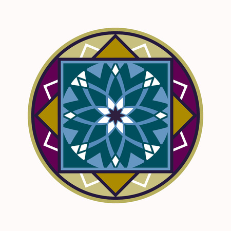 Mandala tattoo colored icon. Geometric round stylized ornament. Harmony, luck, infinity symbol. Turquoise, blue, violet, white colors. Vector