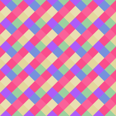 Seamless geometric pattern. Diagonal square, braiding, woven line background. Strapwork texture in bright, variegated, kitsch, festival, clown, holiday colors. Pink, blue colored. Rhomb figure. Vector