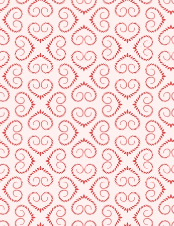 Seamless lace pattern. Vintage curled texture. Swirl silhouettes floral heart signs. Twist ornament of laurel leaves. Red, white colored background. Love, birthday, sale theme. Vector