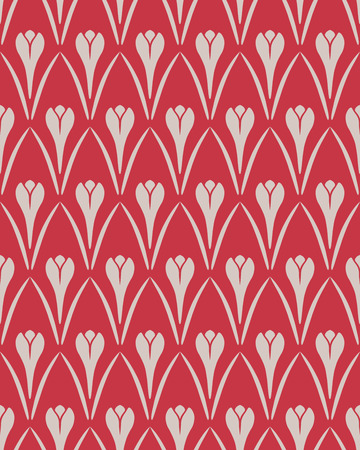 Seamless floral pattern. Crocus vintage background. Flower texture. Red gray contrast colored. Vector Illustration