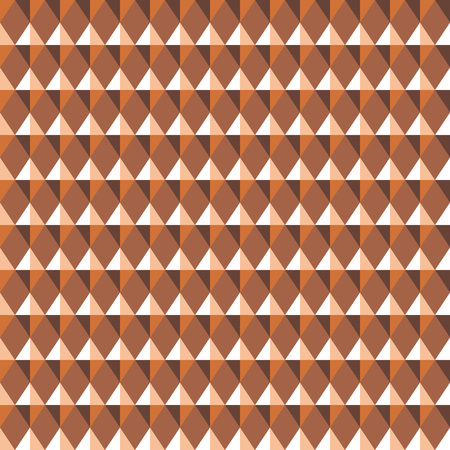 Seamless geometric pattern. Carbon texture. Rhombus convex shine light figures on orange, brown background. Chocolate, coffee, honey theme. Copper colored. Vector