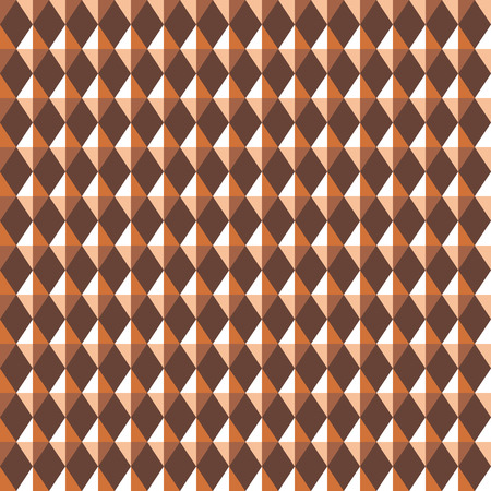 Seamless geometric pattern. Carbon texture. Rhombus convex shine light figures on brown background. Chocolate, coffee colored. Vector