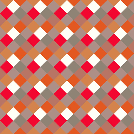 spliced: Seamless geometric checked pattern. Diagonal square, braiding, woven line background. Patchwork, rhombus, staggered texture. Red, white, gray, orange, warm, soft colored. Vector
