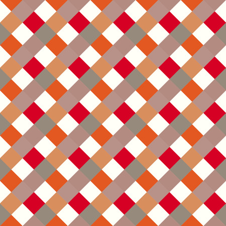 Seamless geometric checked pattern. Diagonal square, braiding, woven line background. Patchwork, rhombus, staggered texture. Red, white, gray, orange, warm, soft colored. Vector