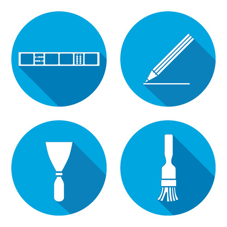 Tool icons set. Spattle, brush, surfacer, clinometer instrument. Painting device. Work, job, labour, toil, repair, building symbol. White sign on round button with long shadow. Vector isolated