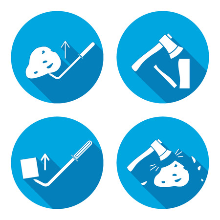 unskilled: Tool icons set. Axe, hache, pinchbar instrument. Working, unskilled, toil, unable, useless method symbol. White sign on round button with long shadow. Vector Illustration