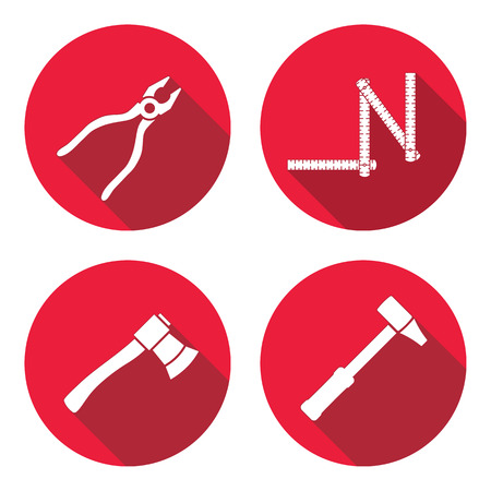 Tool icons set. Axe, hammer, zigzag folding rule, pliers. Repair, measuring instrument, fix carpenters work symbol. Round circle flat icon with long shadow. Vector