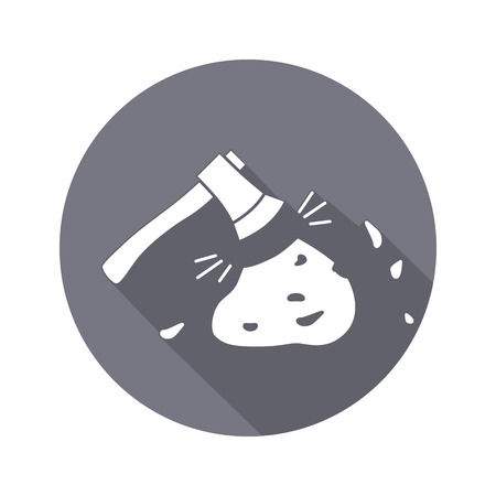 unskilled: Axe, hache tool icon. Instrument, working, unskilled, toil, unable, useless method symbol. White sign on round button with long shadow. Vector