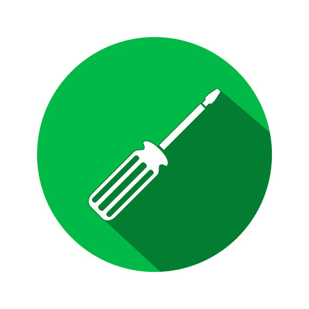 turnscrew: Tool icon. Screwdriver, turnscrew instrument. Industrial, fixing, support hardware service symbol. White sign on round flat button. Vector