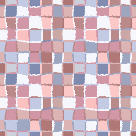 variegated: Seamless geometric mosaic checked pattern. Background of woven rectangles and squares. Patchwork, ceramic, tile texture. Cold, pastel, variegated, blue, brown, rose, gray colors. Winter theme. Vector