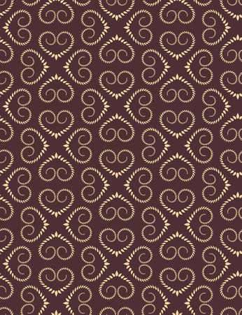 twist: Seamless heart pattern. Vintage texture. Twist ornament of laurel leaves. Brown, yellow, chocolate contrast colored background. Love, birthday, Easter theme. Vector Illustration