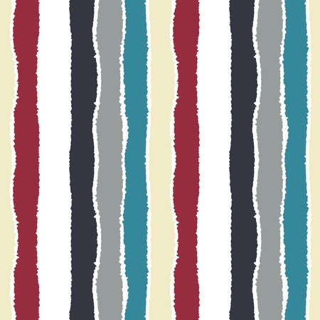 straight edge: Seamless strip pattern. Vertical lines with torn paper effect. Shred edge background. Light, dark, contrast, blue, gray, red, white colored. Winter theme. Vector Stock Photo