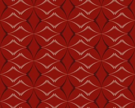 braiding: Seamless geometric abstract pattern. Diagonal rhomb shaped, braiding figure texture. Unusual rhombus bands, lines on dark background. Brown, red, beige pastel colors. Vector