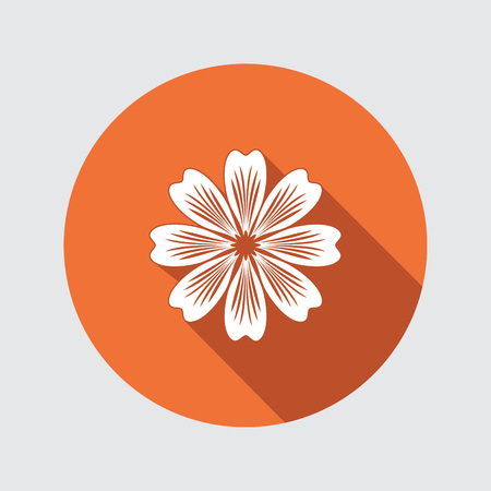 primula: Flower icon. Chamomile, aster, daisy, chrysanthemum. Summer, autumn floral symbol. Round flat sign with long shadow. Vector isolated.