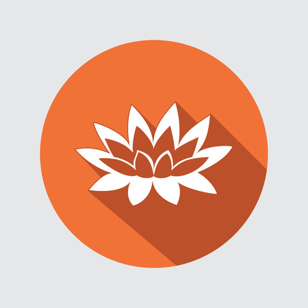 nymphaea: Lily, lotus flower icon. Waterlily floral symbol. Round circle flat button with long shadow. Vector