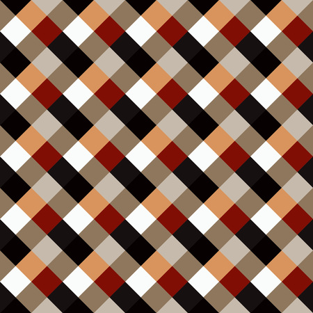 braiding: Seamless geometric checked pattern. Diagonal square, braiding, woven line background. Patchwork, rhombus, staggered texture. Brown, red, white, gray, chocolate, coffee colored. Vector