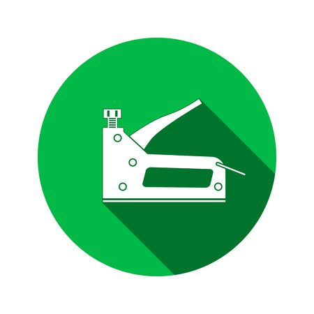 Stapler, staple gun icon. Repair, fix, building, connection, clip tool symbol. Round circle sign with long shadow. Flat design. Vector Illustration