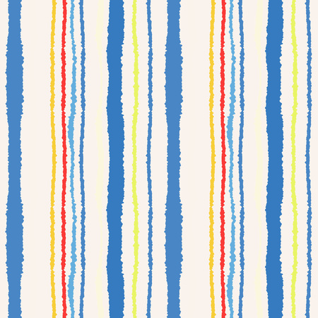 Seamless strip pattern. Vertical lines with torn paper effect. Shred edge texture. Blue, yellow, white, red colored background. Spring theme. Vector