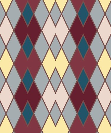 Geometric zigzag seamless pattern. Zigzagging rhombus view texture. Rhomboid diagonal background. Brown, yellow, turquoise vinous colored. Vector.