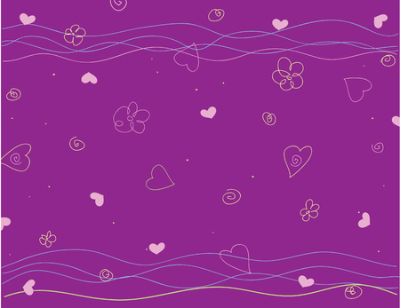 Abstract dark purple background with flowers and hearts