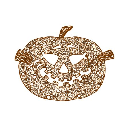 Hand drawn decorative halloween pumpkin