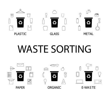 Six dustbins with different types of garbage - paper, metal, plastic, organic, e-waste and glass. Recycling concept vector illustration.