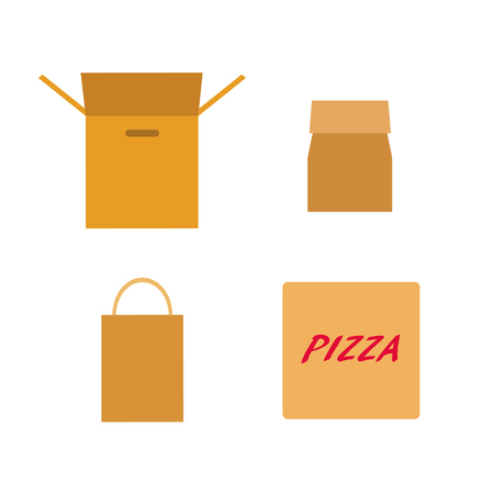 Collection of flat vector icons of 4 cardboard packs. Print. Illustration