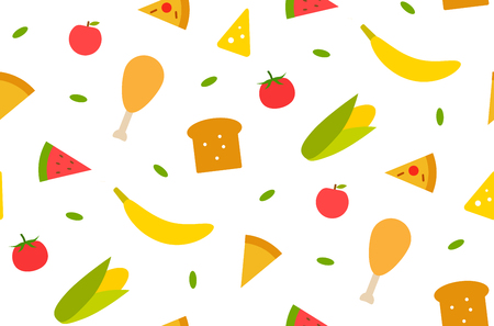 Seamless pattern with different food babana, corn, bread, meat, tomato, cheese. ets Textile print design Vector graphic
