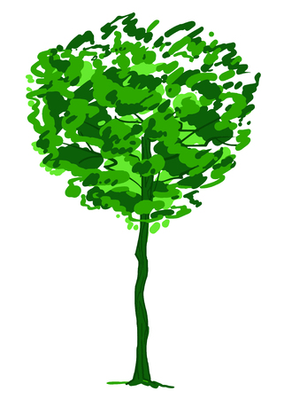 Single tree sketch. Green and white drawing isolated on white background. Simple art. Can be used for card banner template. Raster copy illustration