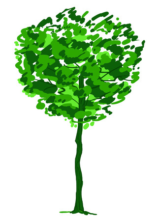 Single tree sketch. Green and white drawing isolated on white background. Simple art. Can be used for card banner template. Vector illustration Stock Illustratie