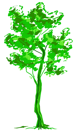 Deciduous tree sketch. Green contour isolated on white background. Simple art. Can be used for card banner template. Vector illustration