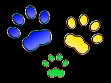 Cat prints  in the night - Neon effect Stock Photo