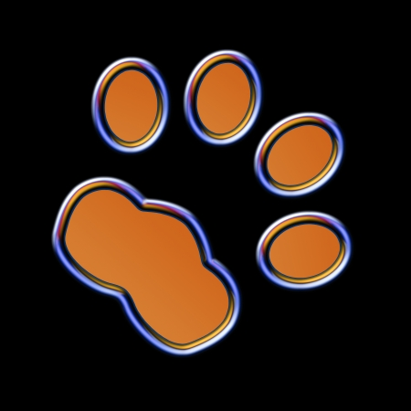 four color printing: Cat print in the night - Neon effect