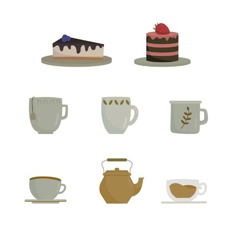 Colored set with tea cups, a teapot, strawberry cake and blueberry cheesecake. Flat vector illustration isolated on white background.