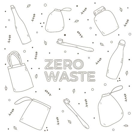 outline zero waste elements. Hand-drawn eco lifestyle objects. Vector coloring. Isolated on white background.