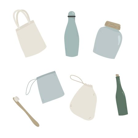 Set of drawn items for an eco lifestyle. Zero waste lifestyle. Hand drawn elements, flat color icons, isolated, white background.