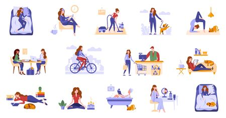 Young women spend leisure time, take care of herself. Daily routine, life scenes, everyday activities of a woman. Girls sleep, take bath, work, do sport, shopping, do hobbies, read book, surfe internet.