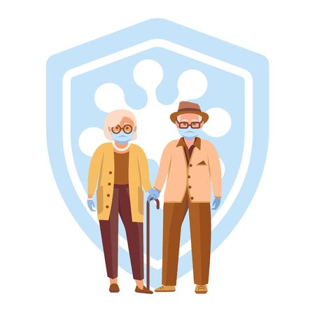 Elderly couple wearing medical face masks and gloves to prevent disease. Coronavirus protection of two older senior people. Coronavirus Safety. Protective Measures. Vector illustration isolated on white