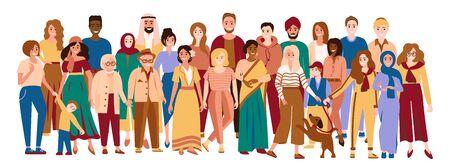 Hommes et femmes multiraciaux. Des gens multiculturels heureux. Groupe diversifié de personnes multiethniques. Jeunes, adultes et seniors hommes, femmes et enfants. Diversité sociale. Illustration vectorielle isolée sur blanc