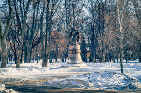 The monument to Mazepa in Poltava is located on Cathedral Square to the Cathedral. Ukraine.