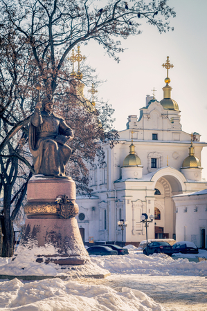 cossack: The monument to Mazepa in Poltava is located on Cathedral Square to the Cathedral. Ukraine.