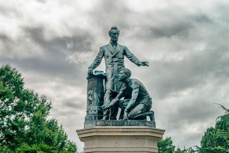 WASHINGTON DC, USA : Freedman�s Memorial is a monument in Lincoln Park. The bronze statue features President Lincoln standing with his left arm out-stretched over a freed slave. Editorial