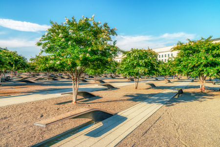 WASHINGTON DC, USA -: The Pentagon Memorial is a outdoor memorial to the 184 people who died as victims in the building and on American Airlines Flight 77 during the September 11 attack Editorial