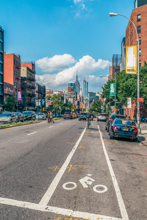 thoroughfare: NEW YORK CITY, USA: Buildings and street traffic on the Broadway.It is the oldest north–south main thoroughfare in New York City, dating to the first New Amsterdam settlement. Editorial