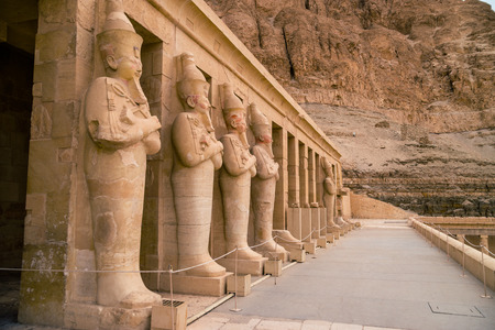 LUXOR, EGYPT: Ancient Deir el-Bahari or Dayr al-Bahri is a complex of mortuary temples and tombs located on the west bank of the Nile, opposite the city of Luxor, Egypt. Editorial