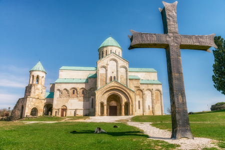 11th century: Bagrati Cathedral or The Cathedral of the Dormition is an 11th century cathedral in Kutaisi, Georgia. Stock Photo